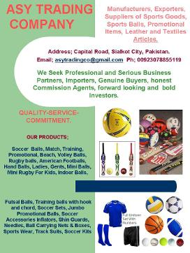 ASY Trading: Sports Articles, Inflatable Balls, Promotional Merchandise, Sports Gear.
